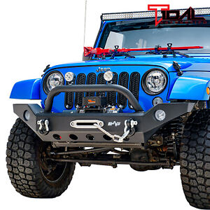 Tidal Front Bumper With Winch Plate Rock Crawler Fit For 07 18 Jeep Wrangler Jk