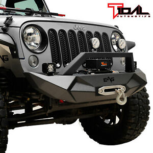 Tidal Fit For 07 18 Jeep Wrangler Jk Off road Front Bumper W winch Plate