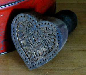Farmhouse Grubby Primitive Wood Valentine S Heart W Bow Butter Mold Stamp Press