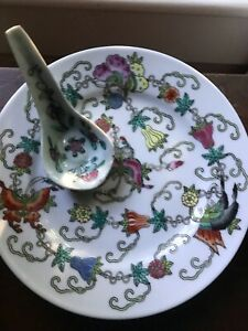 Antique Chinese Famille Rose Plate And Spoon