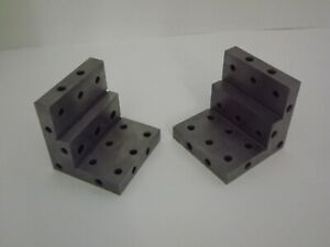 Angle Plate 3x3x3 Stepped precision Ground W Tapped Holes Pair