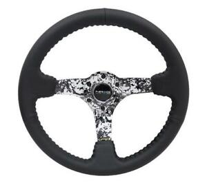 Nrg 350mm Reinforced Steering Wheel Blk Leather W hydrodipped Digi camo Spokes