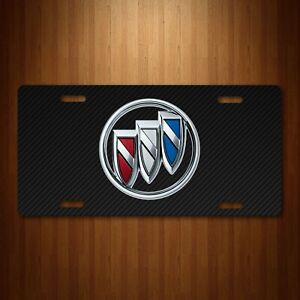 Buick Aluminum License Plate Tag Simulated Black Carbon Fiber Colored Emblem New