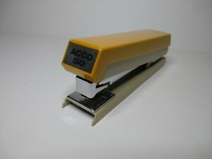 Acco Model 50 Stapler Brown Cream Excellent Workiing Condition Used Vintage