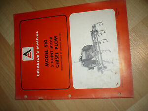 Allis chalmers 3 point Hitch Chisel Plow Model 610 Operator s Manual Nice