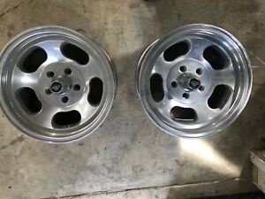 2 Ansen Aluminum Slotted Mag Rims Wheels 15x8 5 Lug Bolt Pattern