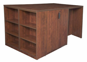 Legacy Stand Up 2 Storage Cabinet 2 Desk Quad With Bookcase End Cherry