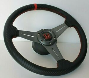 Steering Wheel Fits Honda Civic Integra Accord Prelude Crx Carbon Leather