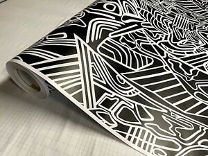 Black White Lines Pattern Matte Vinyl Car Wrap Sheet Free Tools 2 Feet Up