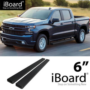 Running Board 6in Aluminum Black Fit Chevy Silverado Gmc Sierra Crew Cab 19 21