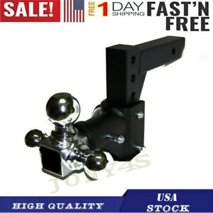 Tri ball Swivel Adjustable Trailer Tow Drop Hitch Ball Mount 2 Inch Receiver Bk