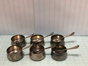 6 Antique Sterling Silver Salt Cellars And Spoons