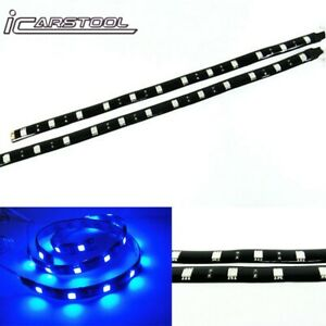 2x Blue High Power 12 Smd Led Strip Interior Gauge Stereo Trunk Light For Bmw
