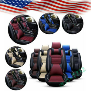 11pcs Car Seat Cover Front Rear Protector Cushion Full Set Pu Leather Interior