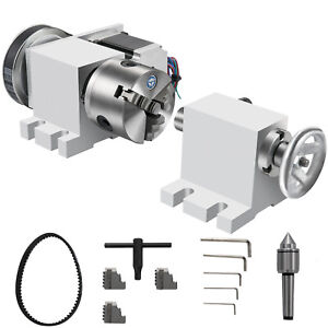 Cnc Router Rotational Rotary Axis 80mm 3 Jaw Chucktailstock 4th axis Engraver