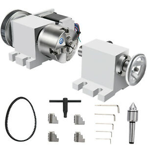 Cnc Router Rotational Rotary Axis 80mm 4 Jaw Chucktailstock 4th axis Engraver