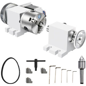 Cnc Router Rotational Rotary Axis 100mm 3 Jaw Chuck tailstock 4th axis Engraver