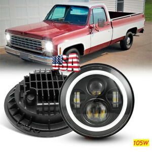 Newest 7 round Led Headlight Halo Drl Turn Signal For Chevy Luv Truck K10 Pickup