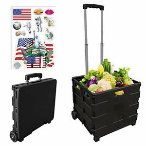 Rolling Collapsible Storage Utility Cart folding Portable Rolling Wheel