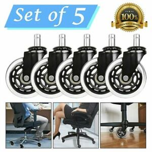 Set Of 5 Universal Office Chair Caster Wheels Heavy Duty And Safe 3 Rollerblade