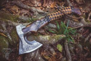 Hand Forged Viking Axe With Carved Handle High Carbon Steel Handmade Hatchet