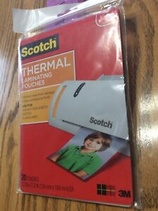 New 3m Corp Scotch Thermal Laminating Pouches 5 X 7 inches 20 pouches Tp5903 20