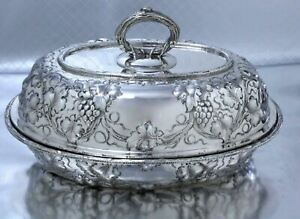 Rare Antique Sterling Silver Repousse Covered Entree Dish Harris Shafer Dc