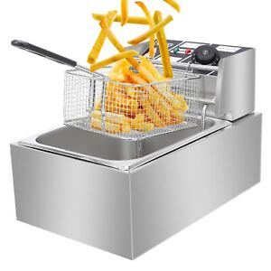 Stainless Steel Single Cylinder Electric Deep Fryer Household Restaurant Large