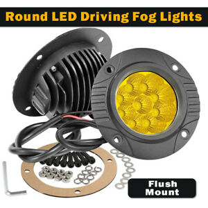 Pair 5 3000k Yellow Fog Round Led Driving Spot Lights Pods Offroad Flush Mount