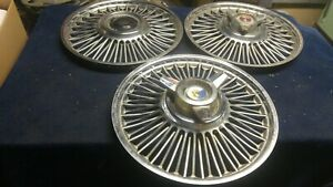 Three 1963 1964 Ford Galaxie 500 Wire Spoke Hubcaps 14
