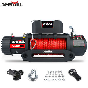 X Bull Electric Winch 10000lbs 12v Synthetic Rope Jeep Towing Truck Off Road 4wd