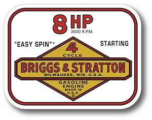 Vintage Briggs Stratton Easy Spin 8 Hp Small Engine 4 X 3 Sticker Decal