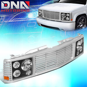 For 1988 1999 Chevy Gmc C k Pickup Tahoe Yukon Front Bumper Grille Headlights