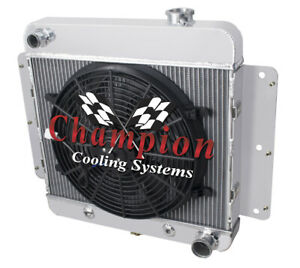 3 Row Dr Champion Radiator W 14 Fan For 1962 1967 Chevrolet Chevy Ii V8 Conv