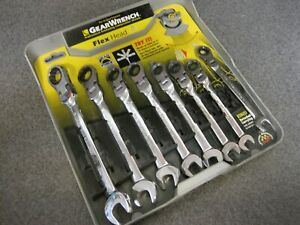 Gear Wrench 8pc Metric Ratcheting Flex Head Combination Wrench Set Craftsman