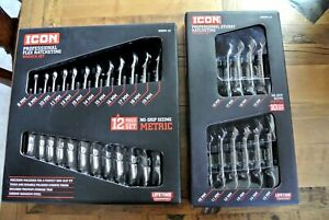 Icon Professional Metric Flex Head Stubby Gear Ratcheting Wrench Sets New