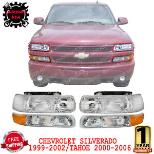 Head Lights With Signal Marker Lamps For 1999 02 Chevy Silverado Tahoe 2000 06