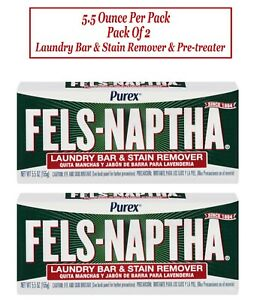 Purex Fels naptha Laundry Bar Stain Remover Pre treater 5 5 Oz Pack Of 2