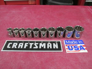 Vintage Craftsman Tools 3 8 Drive Set Of 10 Metric Sockets 12 Pt Made In Usa