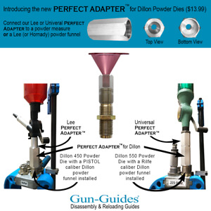 Perfect Adapter™ for DILLON 450 550 650 Powder Dies NEW from Gun Guides $13.99