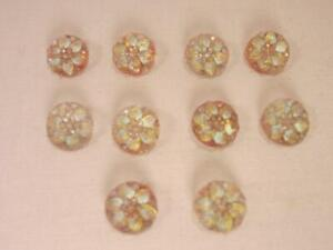 Antique 1920 Glass Buttons Pink Flowers W Gold Luster Petals 3 8 10 Pc