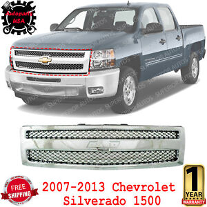 Front Grille Chrome Shell Plastic For 2007 13 Chevrolet Silverado 1500