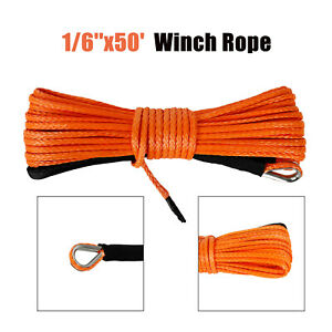 1 6 X50 8000lbs Winch Synthetic Rope Line Recovery Cable Atv Orange