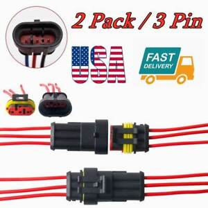 2 Pack 3pin Way Male Female Electrical Connector Plug Wire Car Waterproof Us