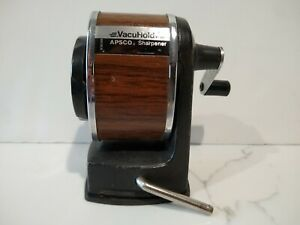 Vintage Apsco Berol Pencil Sharpener 6 Hole Vacuhold Wall Desk Mount Wood Grain