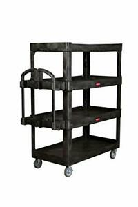 New Rubbermaid Commercial Products 4 shelf Utility service Quad Cart Heavy Duty