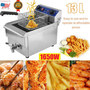 Commercial Restaurant Electric 13l Deep Fryer W timer And Drain Stainless Steel