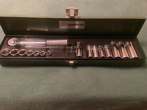 Vintage S k Tools S k Wayne 3 8 Dr Std Socket Set With Metal Case