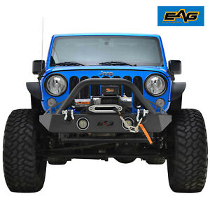 Eag Led Front Bumper Winch Plate Fits 07 18 Jeep Wrangler Jk Stubby