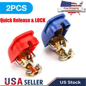 2pcs 12v Car Quick Release Battery Disconnect Terminal Clamps Connectors Part